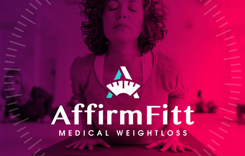 AffirmFitt logo over colorful image of woman doing yoga