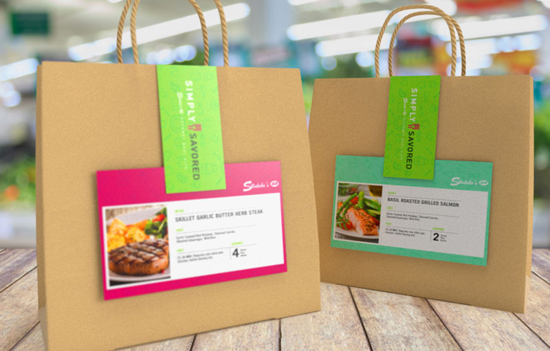 Simple Savored recipe cards on paper bags