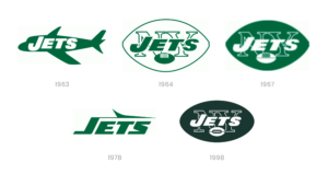 NY Jets logos from 1963, 1964, 1967, 1978, 1998