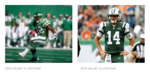 NY Jets 1990 Helmet and uniform, 2018 Helmet and uniform