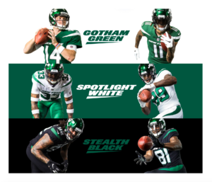 Visual of NY Jets new uniforms in Gotham Green, Spotlight White, and Stealth Black