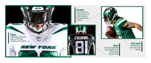 Details of new NY Jets uniforms including the front, Helmet, back, and Jets Edge