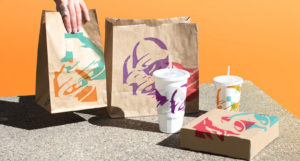 Taco Bell packaging redesign bag cup box