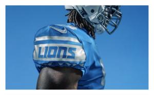 the Detroit Lions Uniform side view