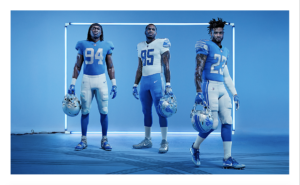 The Detroit Lions Uniforms three different versions