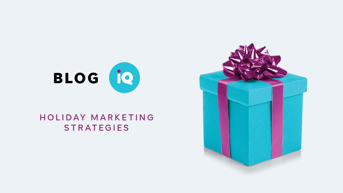 Blog IQ Holiday Marketing Strategies Blue package with a Purple bow