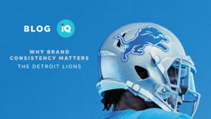 Blog IQ Why Brand consistency matters The Detroit Lions with Image of helmet