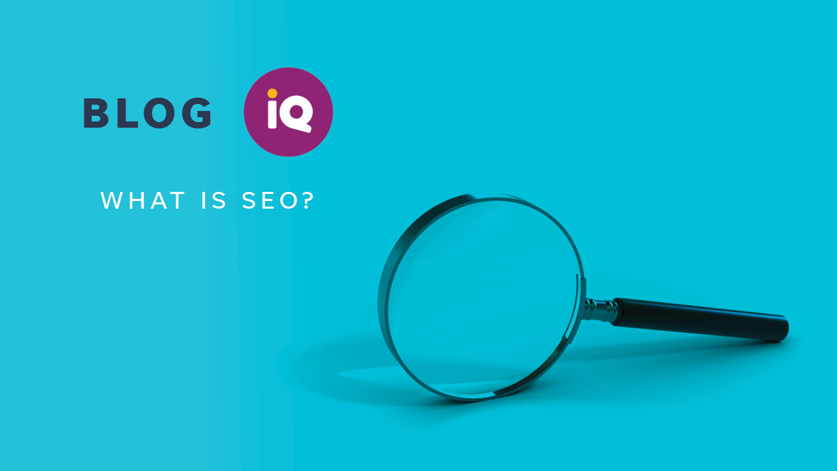 Blog IQ What is SEO with image of a magnifying glass.
